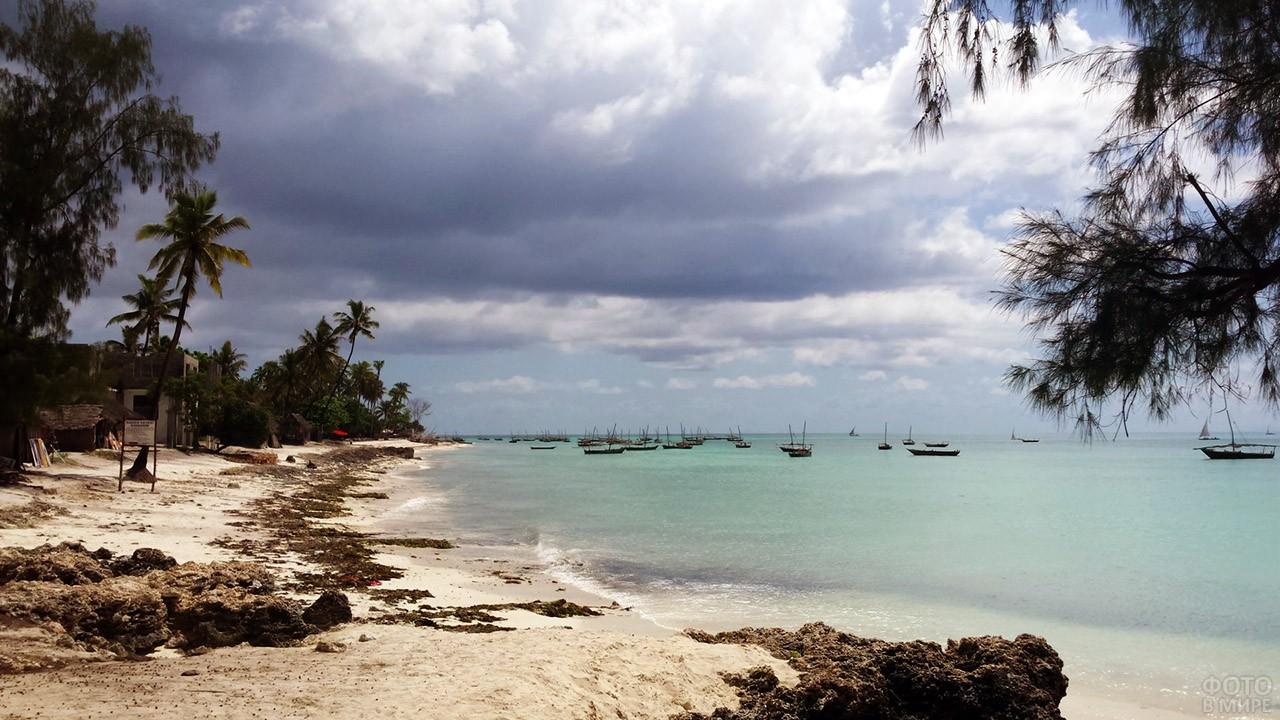 Лодки у побережья Занзибара