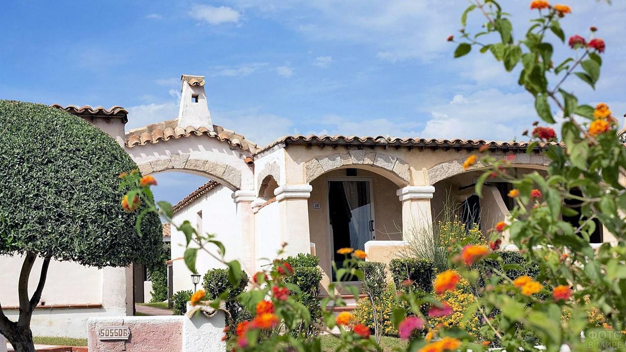 Цветущий сад вокруг отеля на Сардинии