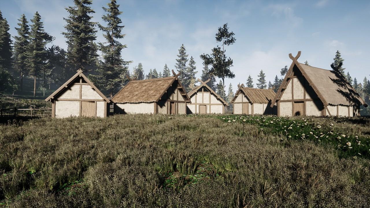 Деревня викингов в траве