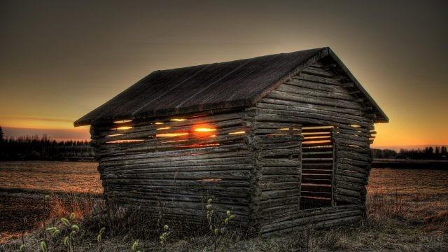 Заходящее солнце светит сквозь брёвна постройки
