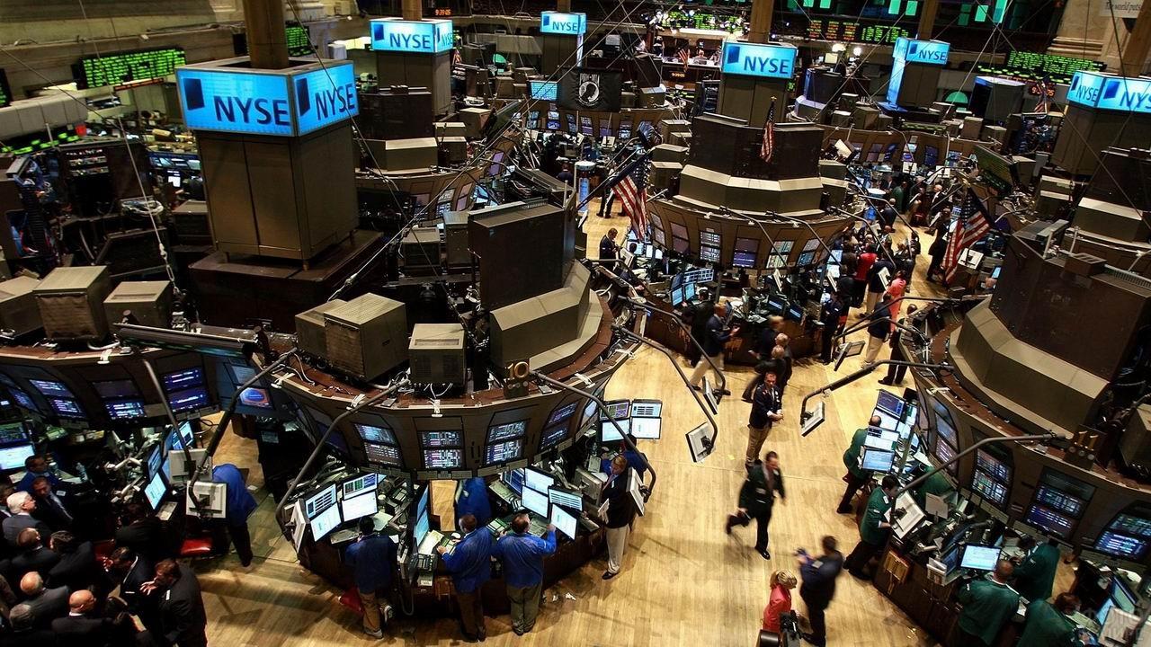 Финансовая биржа на Уолл-стрит вид изнутри