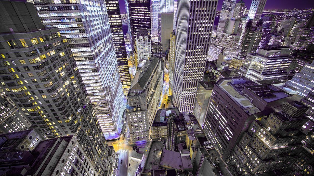 Ночная улица Уолл-стрит вид сверху