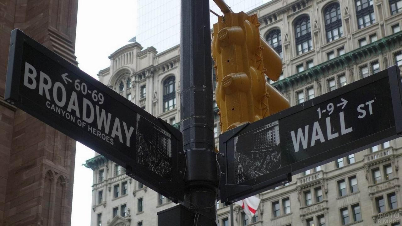 Таблички на пересечении Бродвея и Уолл-стрит