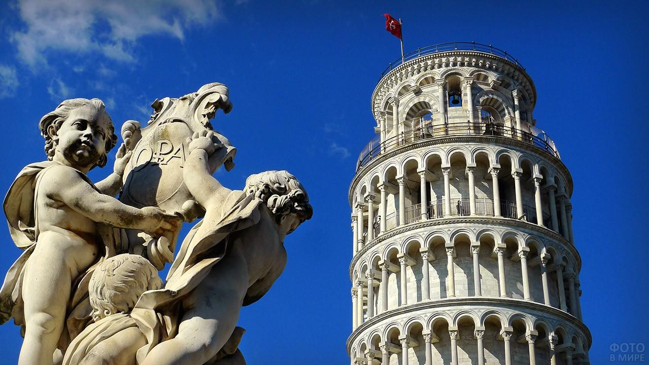 Открыточный вид на верхушку Пизанской башни