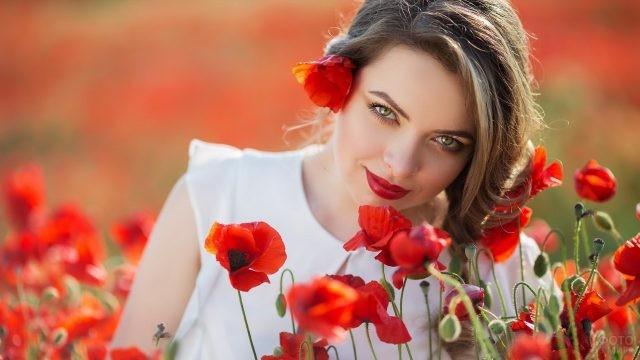 Девушка в поле красных маков