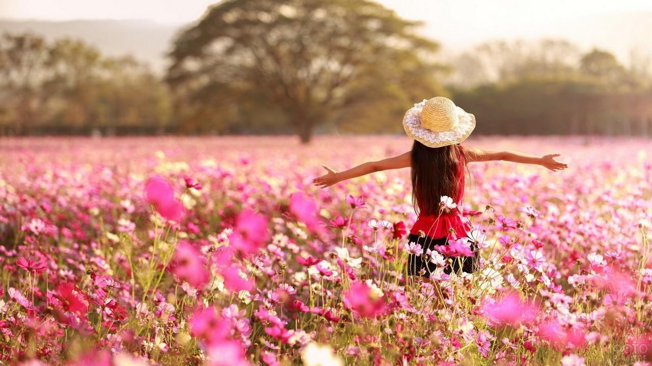 Девушка в шляпке в цветочном поле