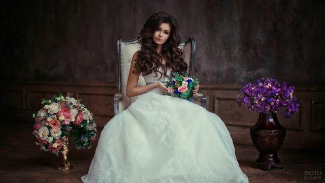 Невеста с красивой причёской в кресле