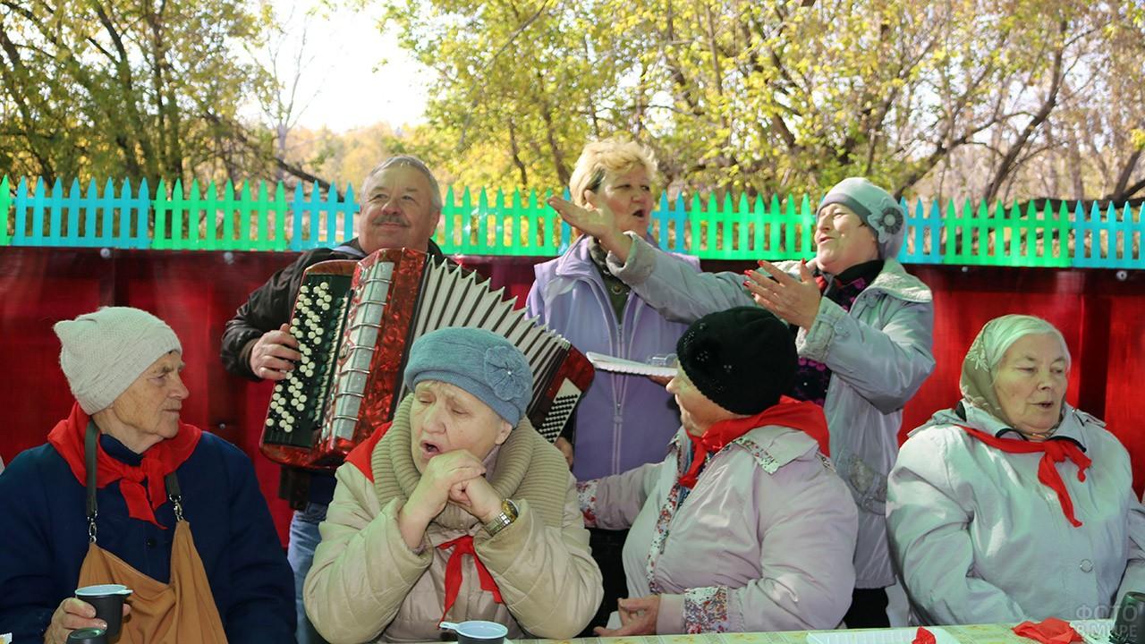 Чаепитие пенсионеров с песнями под баян в городском парке