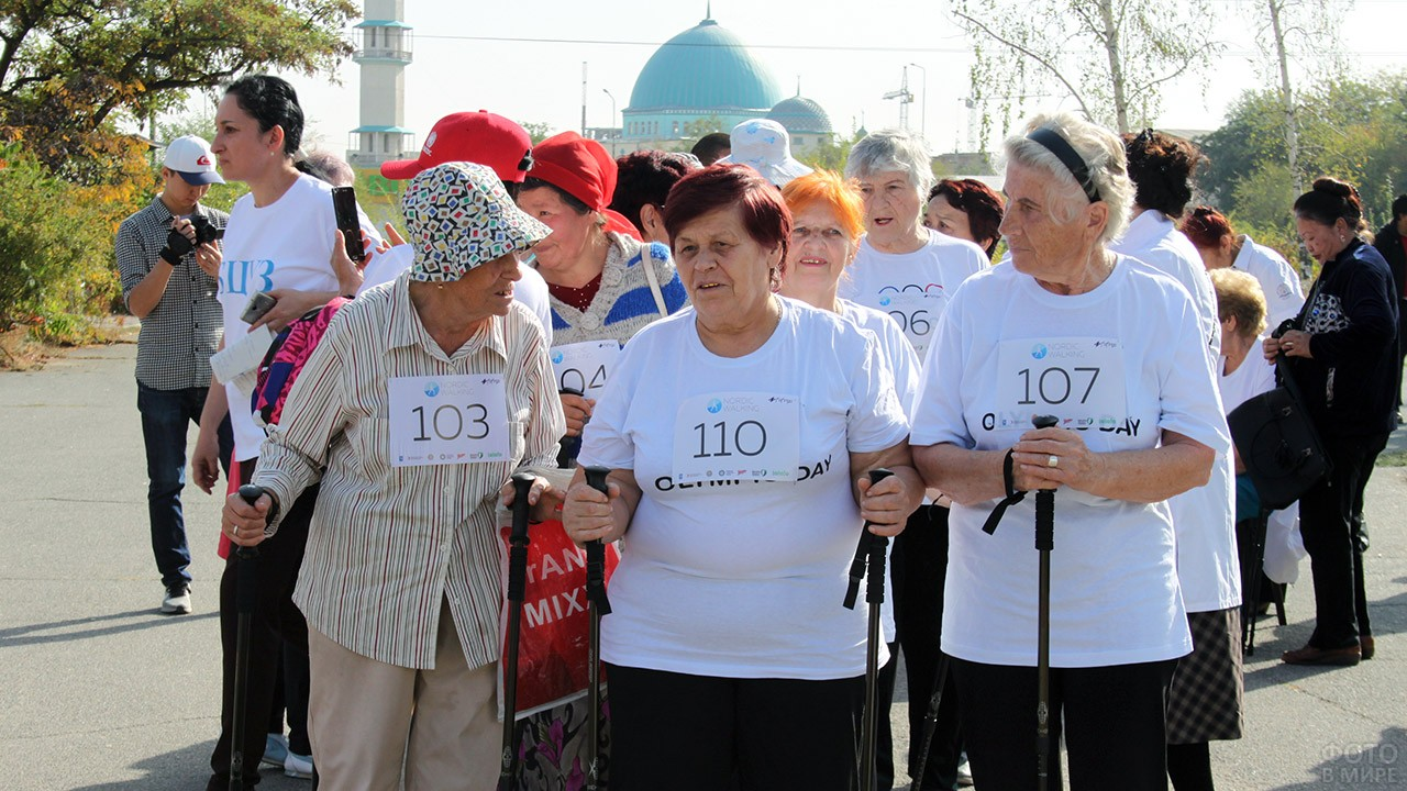 Соревнования пенсионеров по скандинавской ходьбе в городском парке