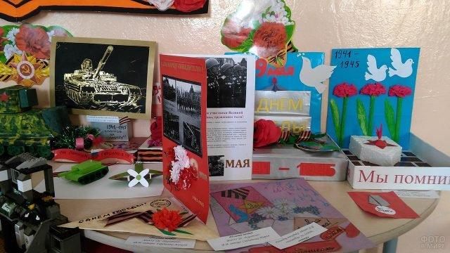 Объёмные открытки, рисунки и диорамы к 9 мая на выставке поделок в детском саду