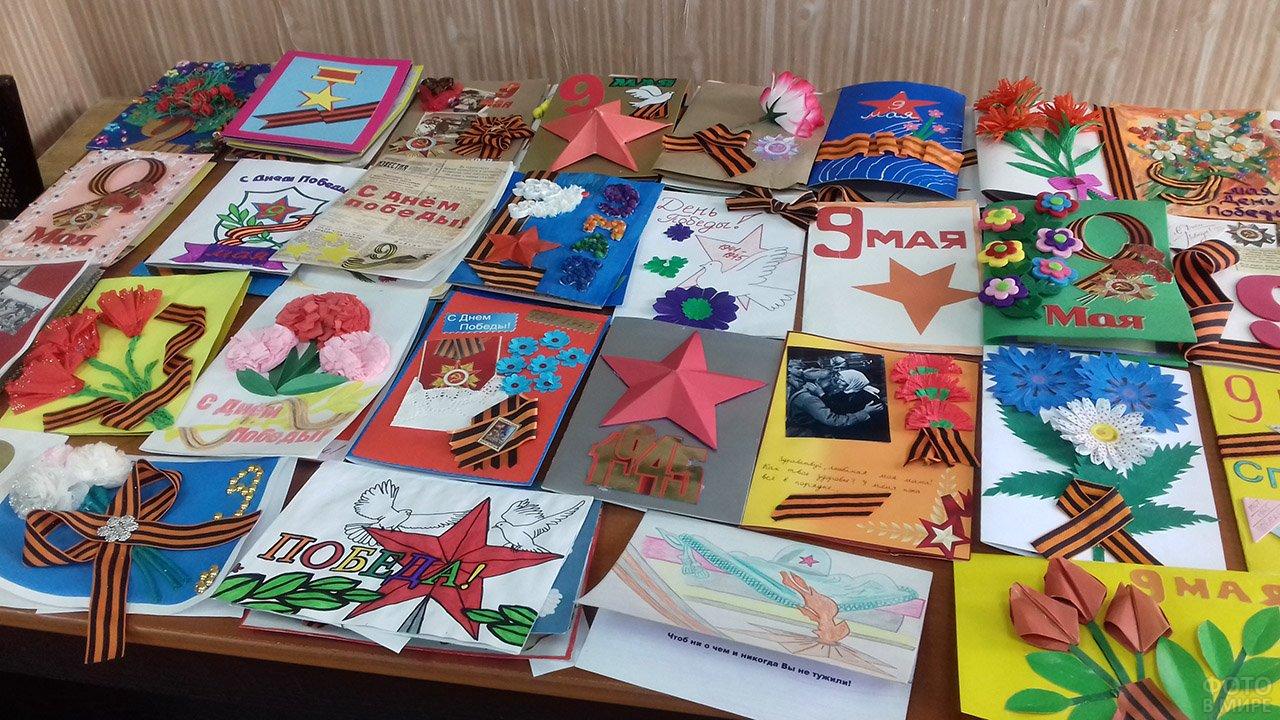Школьная выставка детских открыток к 9 мая