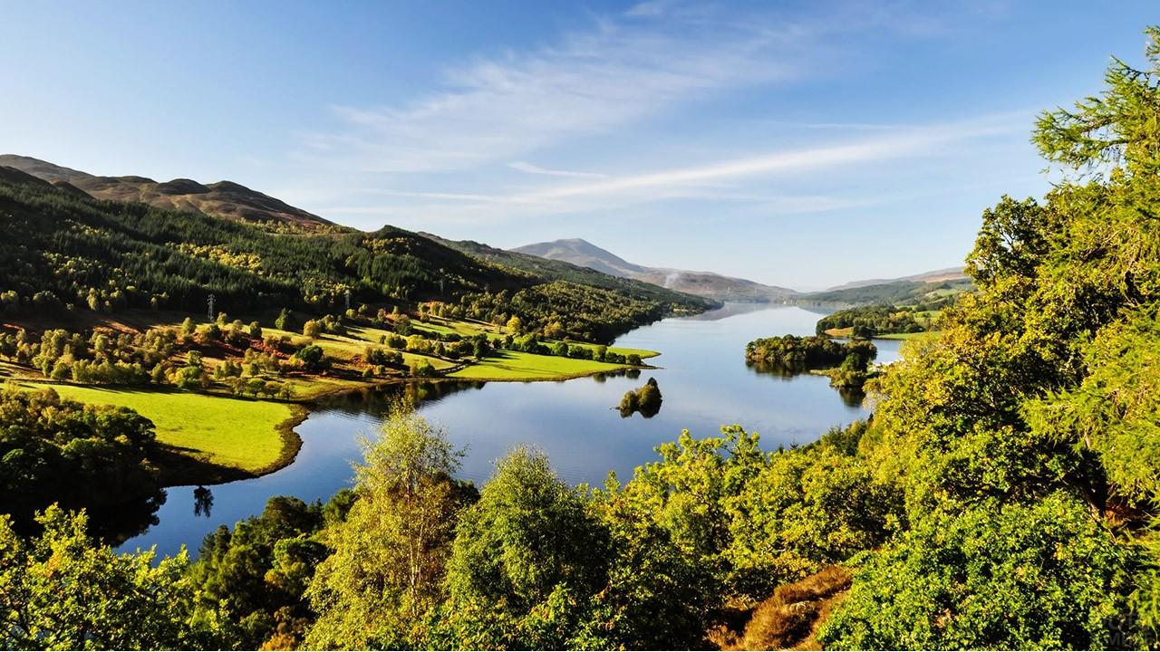 Пейзаж графства Пертшир в Шотландии
