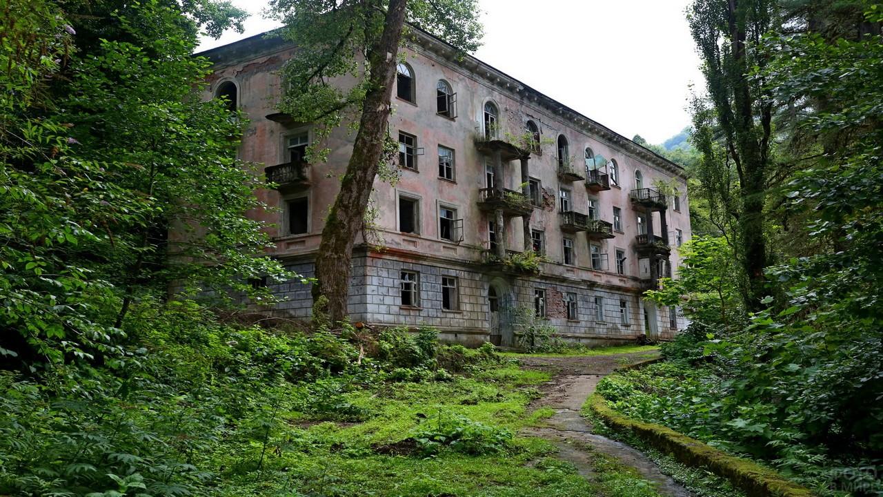 Заброшенный многоэтажный дом в зарослях леса