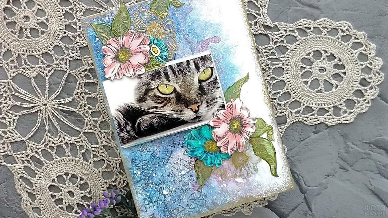 Самодельная открытка с фотографией котика