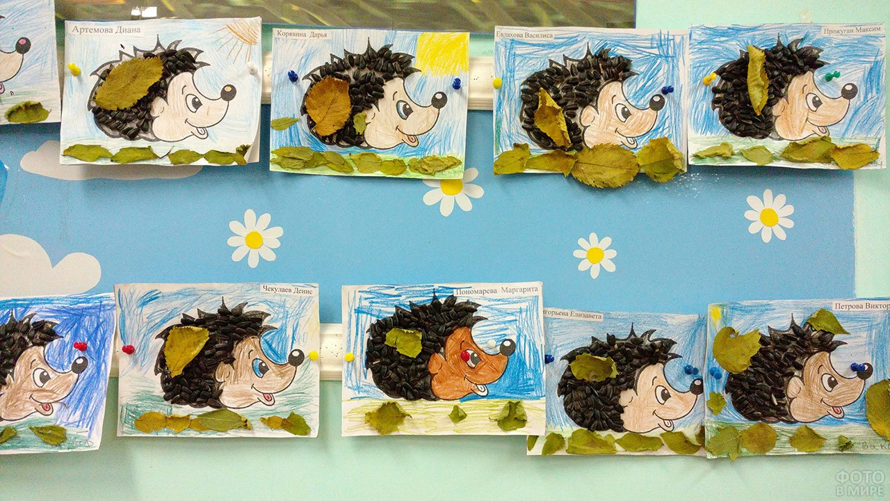 Самодельные открытки с ёжиками на стенде в детском саду
