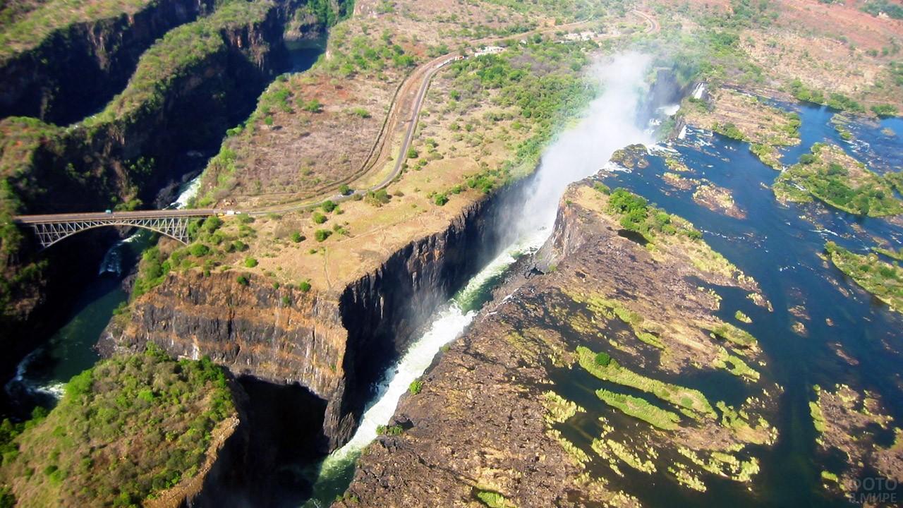 Необычный ракурс водопада Виктория