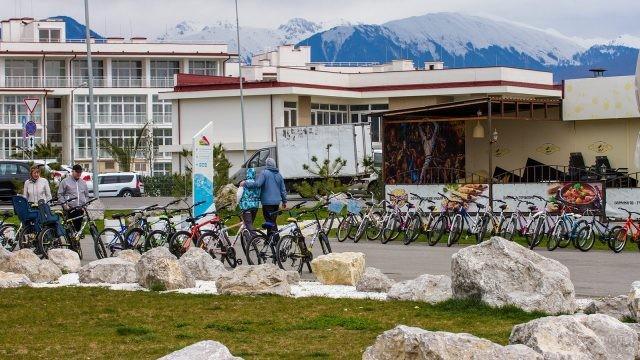 Пункт велопроката рядом с набережной