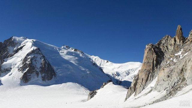 Белоснежная вершина горы Монблан