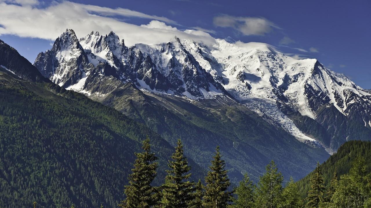 Панорамный вид заснеженных гор