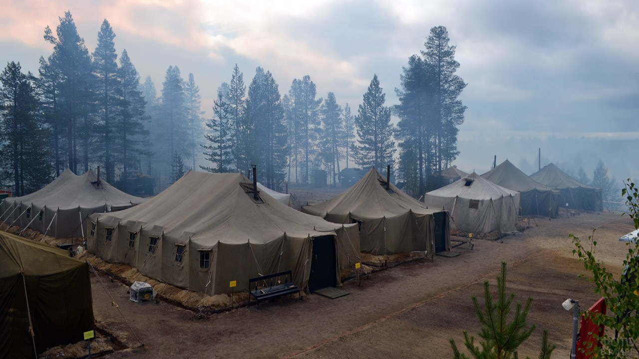 Палаточный лагерь подразделений РХБЗ на сборах