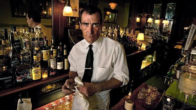 Опытный бармен в классическом пабе