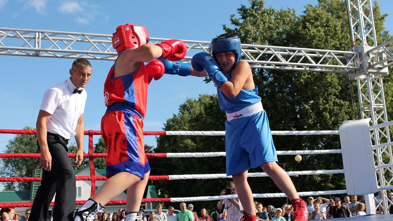 Юные боксёры во время матча в День физкультурника