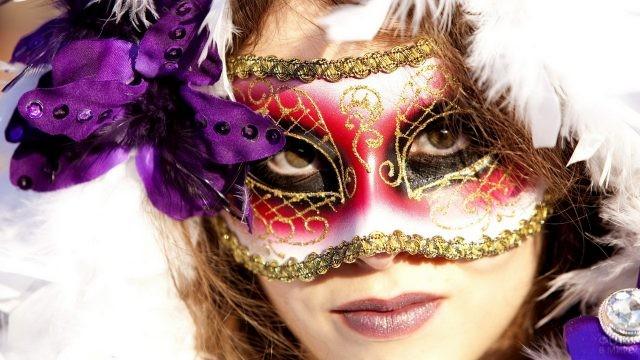 Карнавальная маска на лице