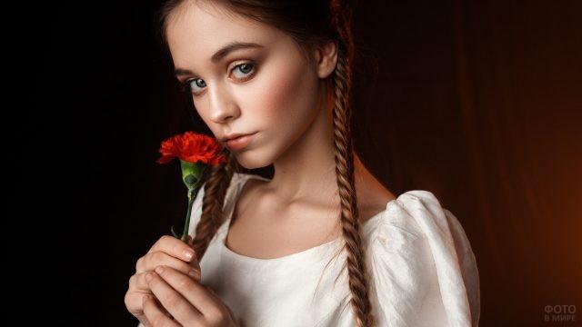 Девушка с тонкими косами нюхает гвоздику
