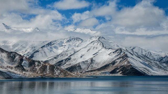 Спокойное озеро у подножия величественных гор