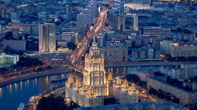Ночная Москва, вид с Воробьёвых гор