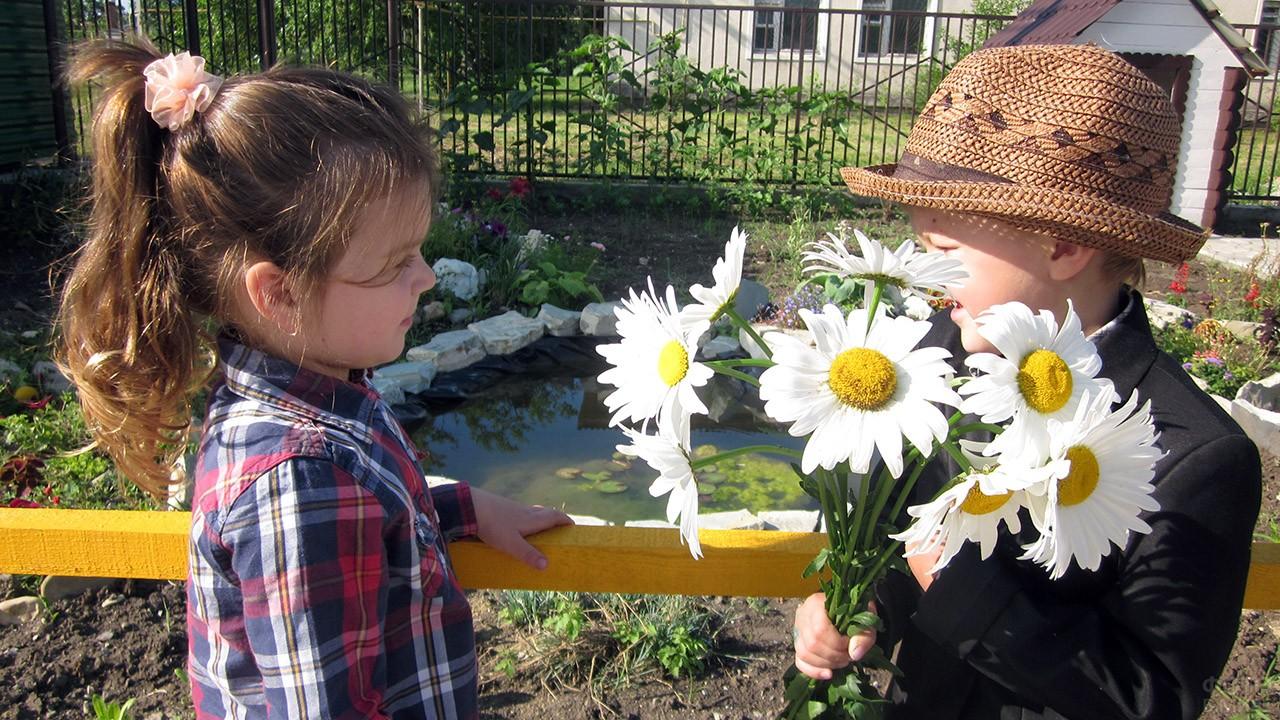 Девочка и мальчик с букетом ромашек в День семьи, любви и верности