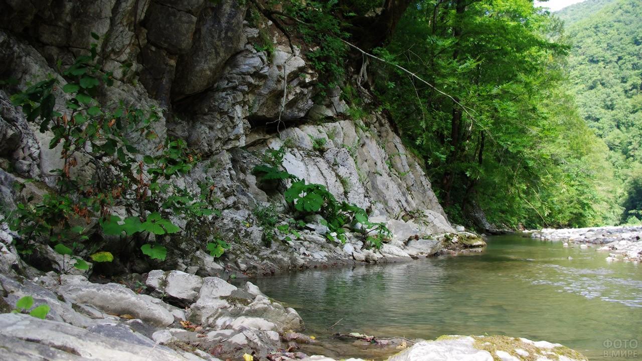 Скалистый берег реки Небуг в горах