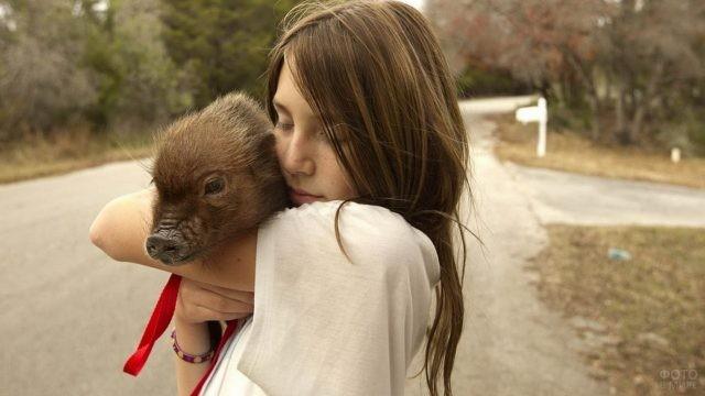 Девушка держит коричневую свинку на руках