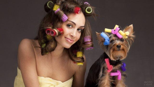 Девушка и собачка в бигудях