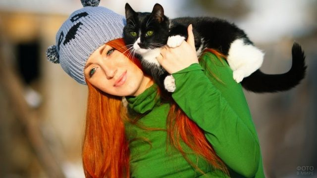 Кот забрался верхом на девушку