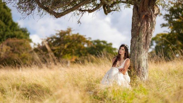 Девушка в траве у дерева
