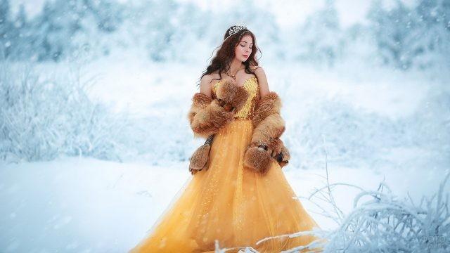 Принцесса в шубке в зимнем лесу