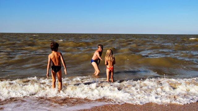 Отец с детьми на пляже Должанки
