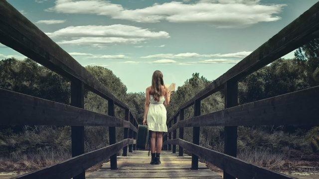 Читающая девушка с чемоданом на мосту