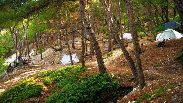 Палатки кемпинга Голубая бездна