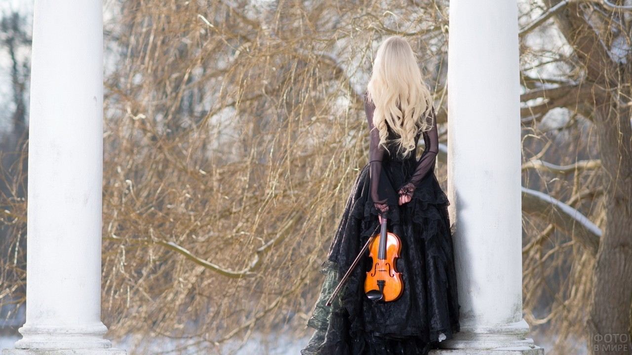 Скрипачка в чёрном платье в лесу