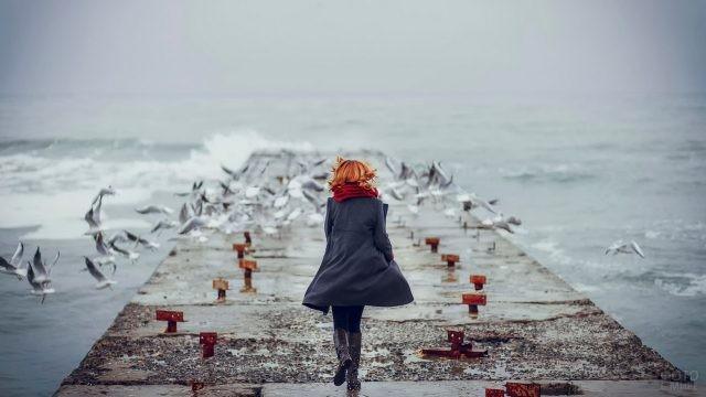 Девушка бежит по причалу к чайкам