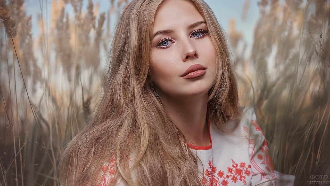 Русская красавица в поле