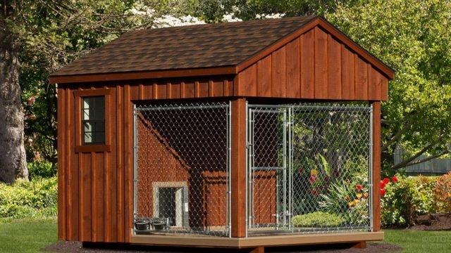 Вольер для собак в виде дома