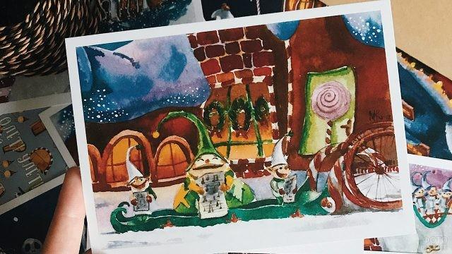Авторская открытка с нарисованными рождественскими эльфами