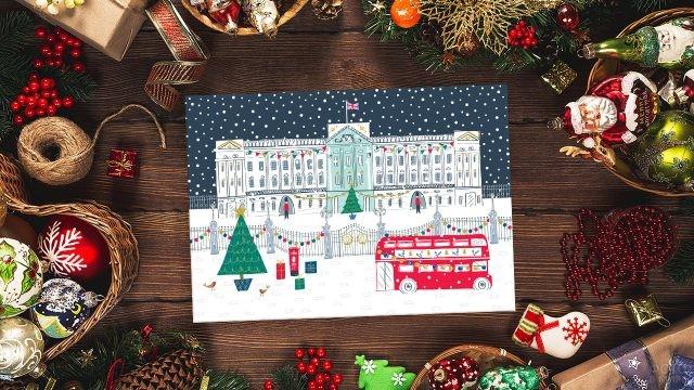 Детский рисунок Лондона на рождественской открытке