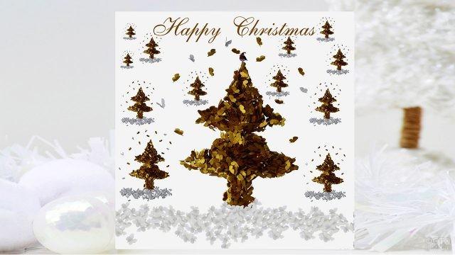 Рождественская открытка с аппликациями из золотых бабочек в виде ёлок