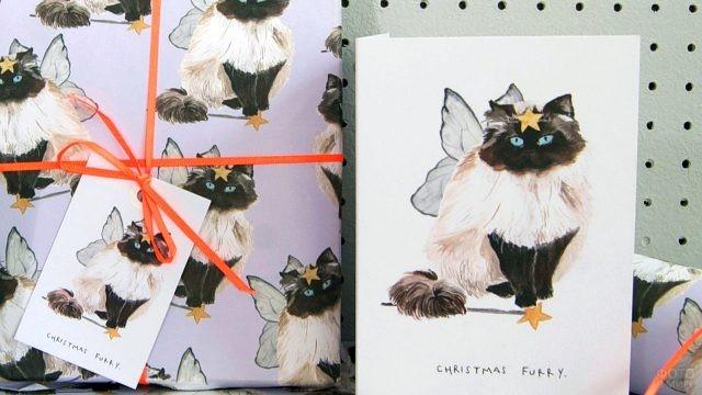 Рождественский поздравительный комплект с кошечкой в виде ангела