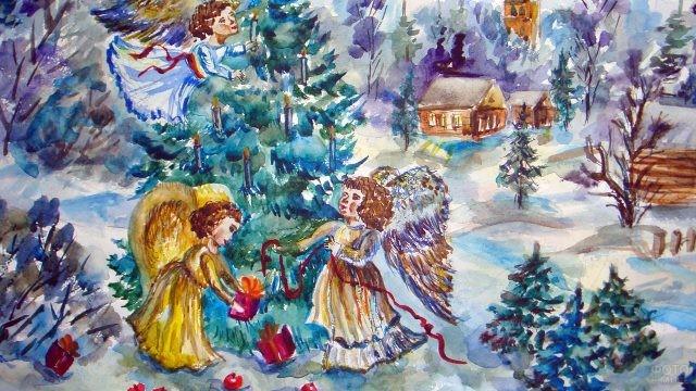 Самодельная акварельная открытка к Рождеству с ангелами вокруг ёлки
