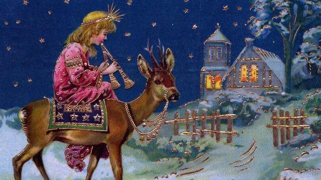 Старинная открытка к Рождеству с маленьким волхвом на олене
